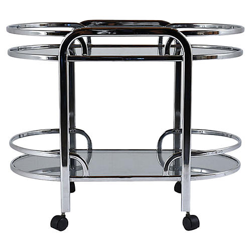 Modern Chrome and Glass Bar Cart