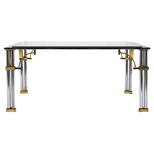 Chrome and Brass Square Coffee Table