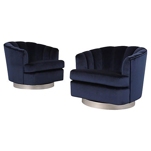Pair of Modern 1960's Swivel Chairs