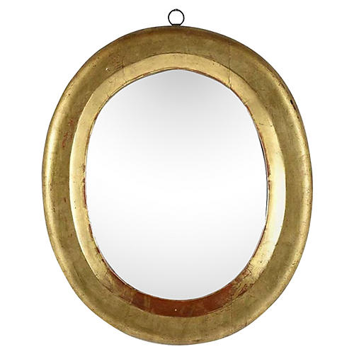French Oval Giltwood Mirror