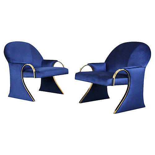Unique Pair of Modern Lounge Chairs