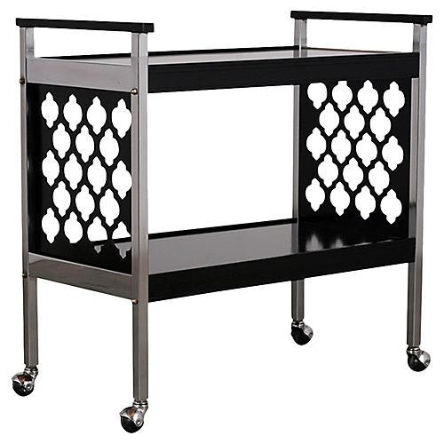 Midcentury Chrome & Wood Bar Cart
