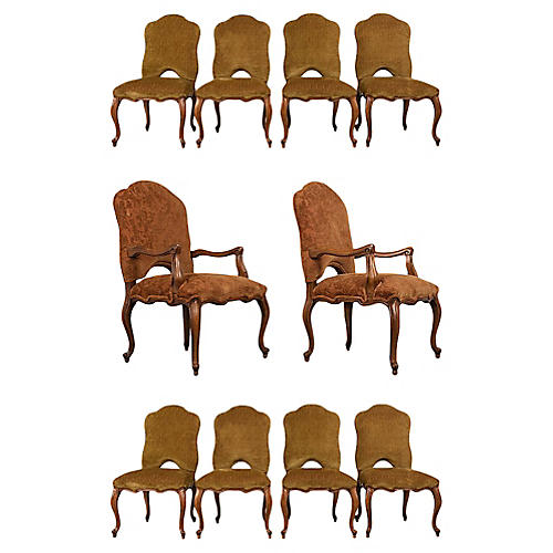 Set of 10 Italian Baroque Dining Chairs