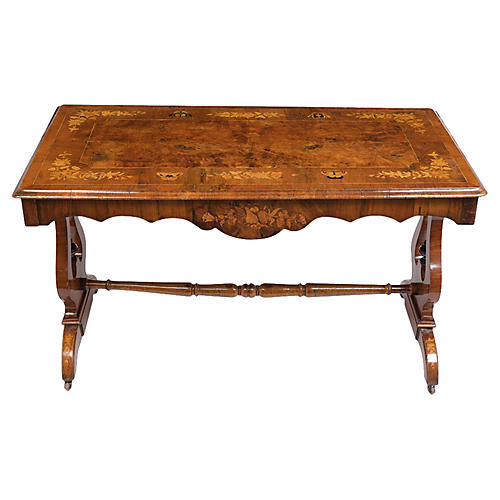 1840s English Marquetry Center Table