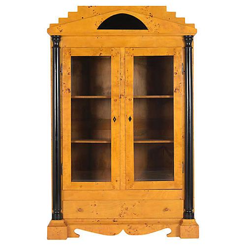 Antique Biedermeier Burled Bookcase