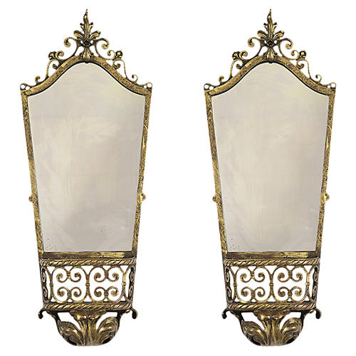 Set of Regency Style Mirror Wall Sconces
