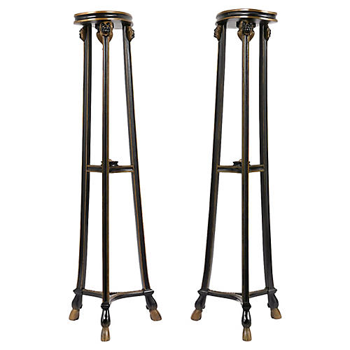 Pair of Empire Style Ebonized Pedestals