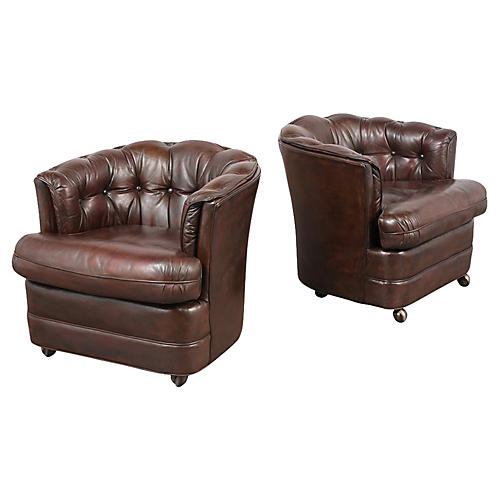 Pair of Barrelback Leather Lounge Chairs