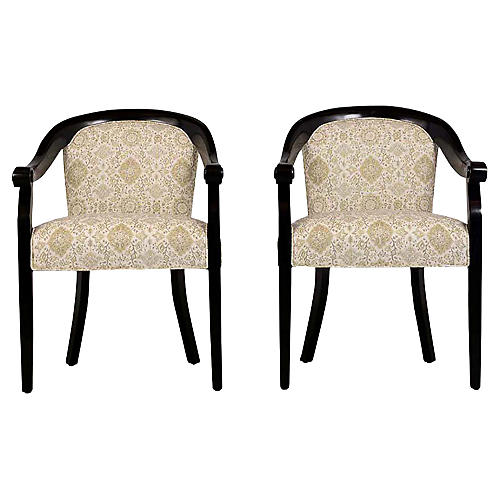 Modern Lacquered Armchairs by Hickory