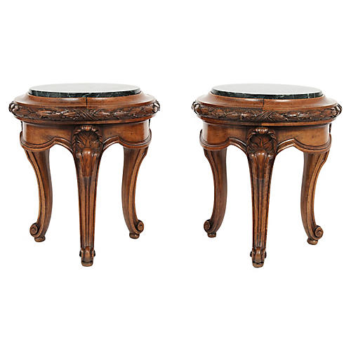 Pair of Antique Louis XVI Carved Stools