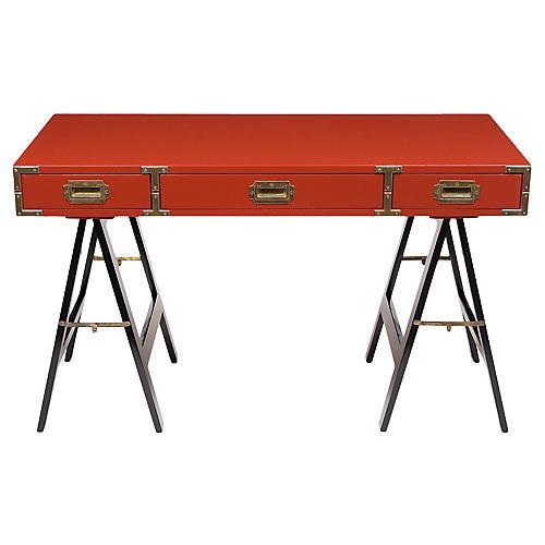 Vintage Lacquered Campaign Desk