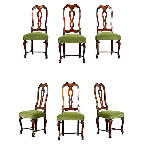 Antique English Queen Anne Dining Chairs