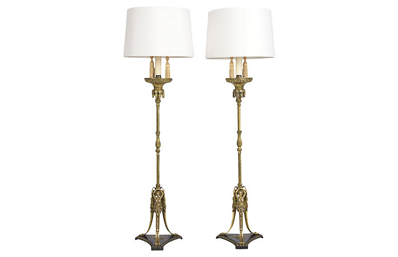 Pair of Regency Style Brass Floor Lamps
