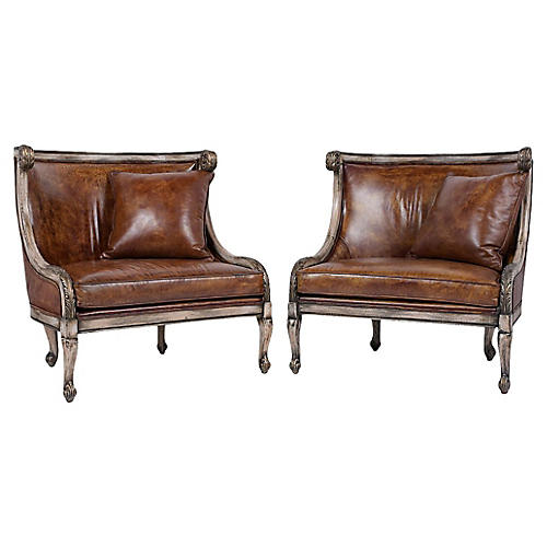 Carved Leather Armchairs, Pair