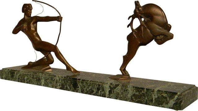 Bronze & Marble Archer Scene