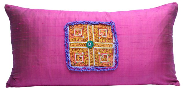 Embroidered Afghan Pillow