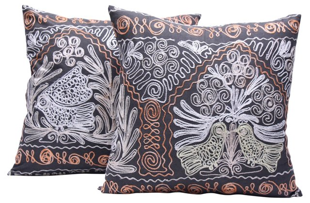 Uzbekistan Suzani Pillows, Pair
