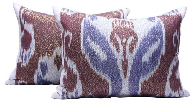 Handwoven Ikat    Pillows, Pair