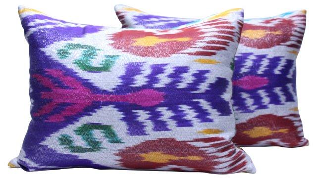 Uzbek Ikat Pillows, Pair