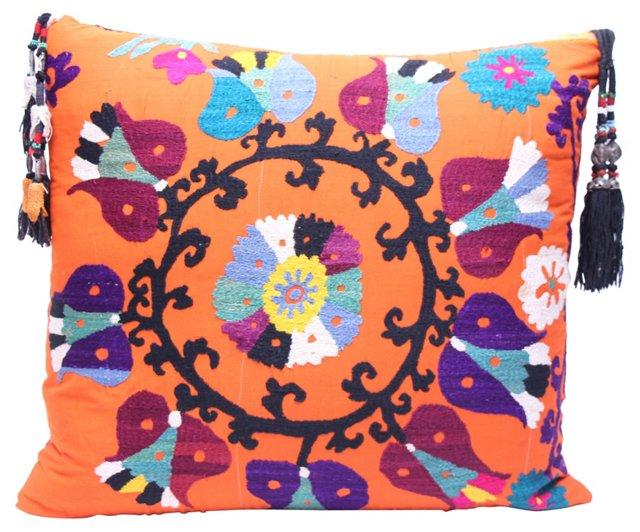 Orange Suzani   Pillow w/ Tassels