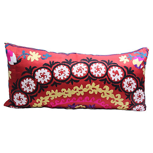 Hand-Embroidered Suzani Body Pillow