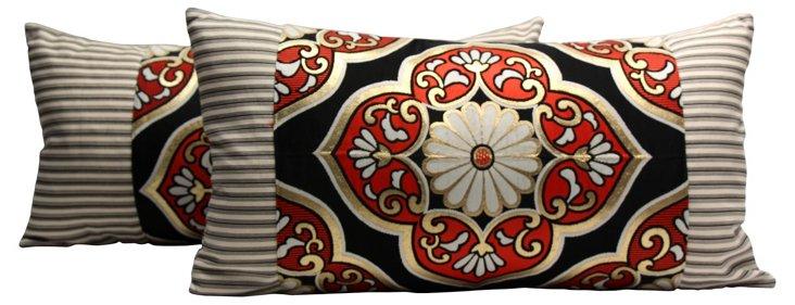 Obi &  Ticking Pillows, Pair