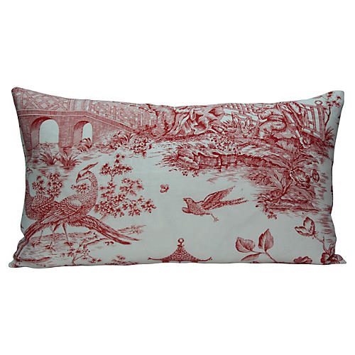 Red & White Chinoiserie Pillow