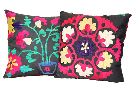 Hand-Embroidered Pillows,  Pair