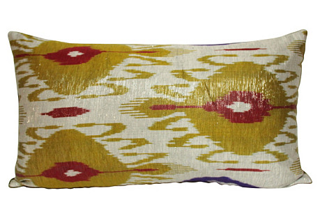 Metallic Olive Ikat Pillow