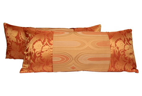 Mid-Century Modern Peach Pillows, Pair