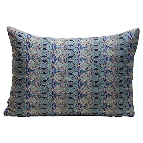 Art Nouveau Blue Pillow
