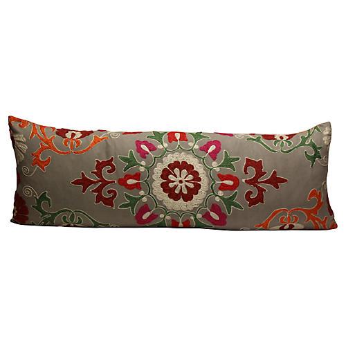 Gray & Orange Suzani Pillow