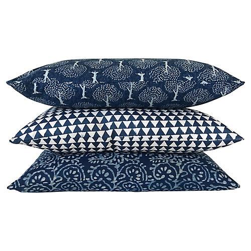 Indigo Pillows, S/3