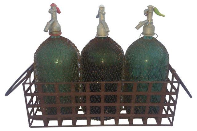 Seltzer Bottles w/ Carrier, 4 Pcs