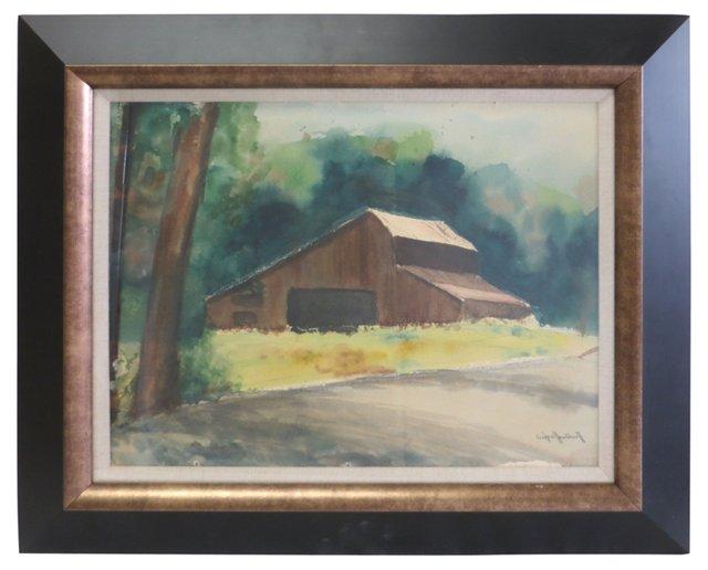 Brown Barn Watercolor
