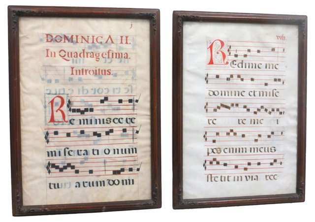 Framed 17th-C. Music Sheets, Pair