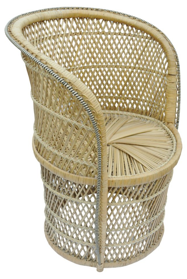 Barrel-Back  Caned Chair