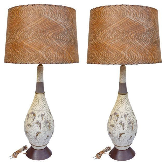 Midcentury Textured Lamps, Pair