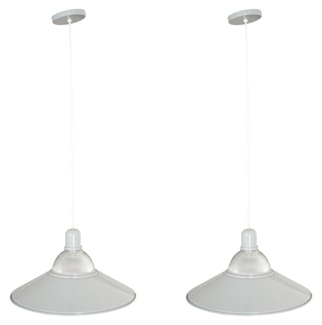 Industrial-Style Pendants, Pair