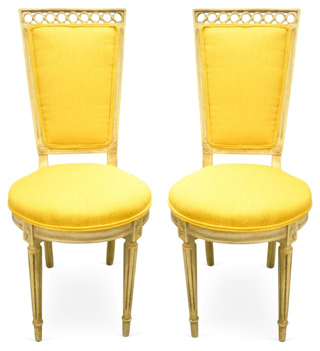 French Directoire Chairs, Pair