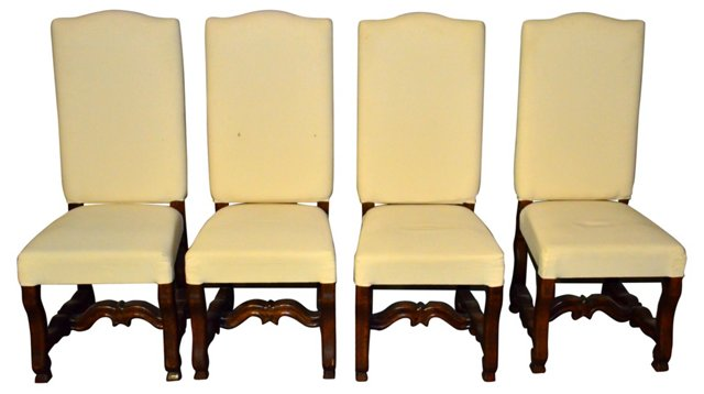 French Walnut Chairs, Set of 4