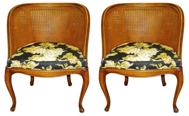 French Cane-Back Chairs, Pair