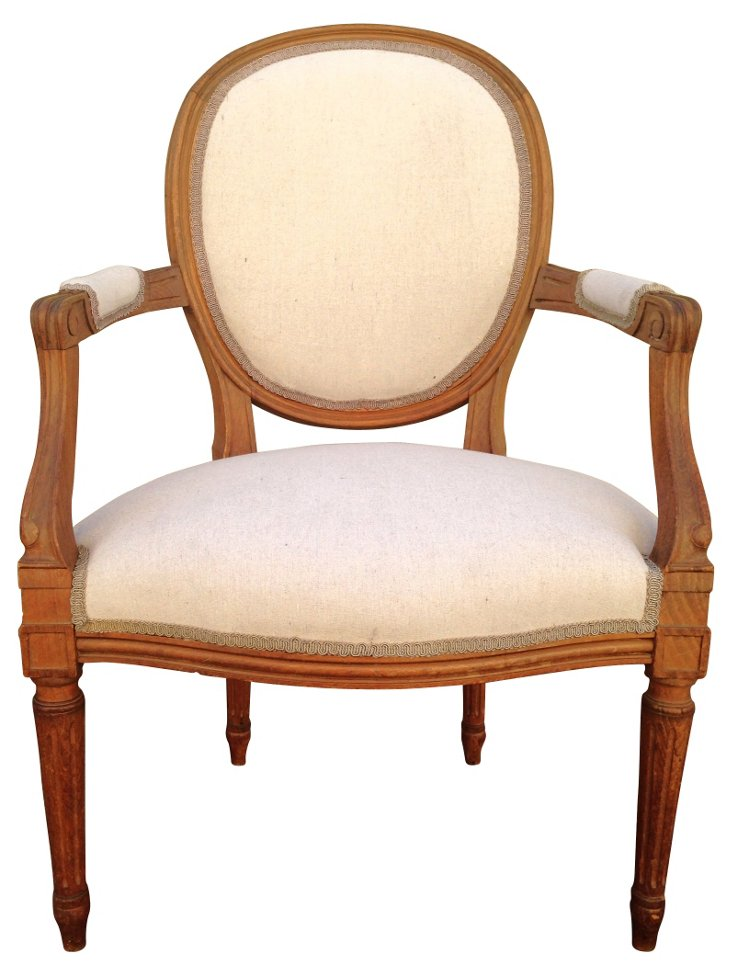 Antique French Walnut & Linen Fauteuil