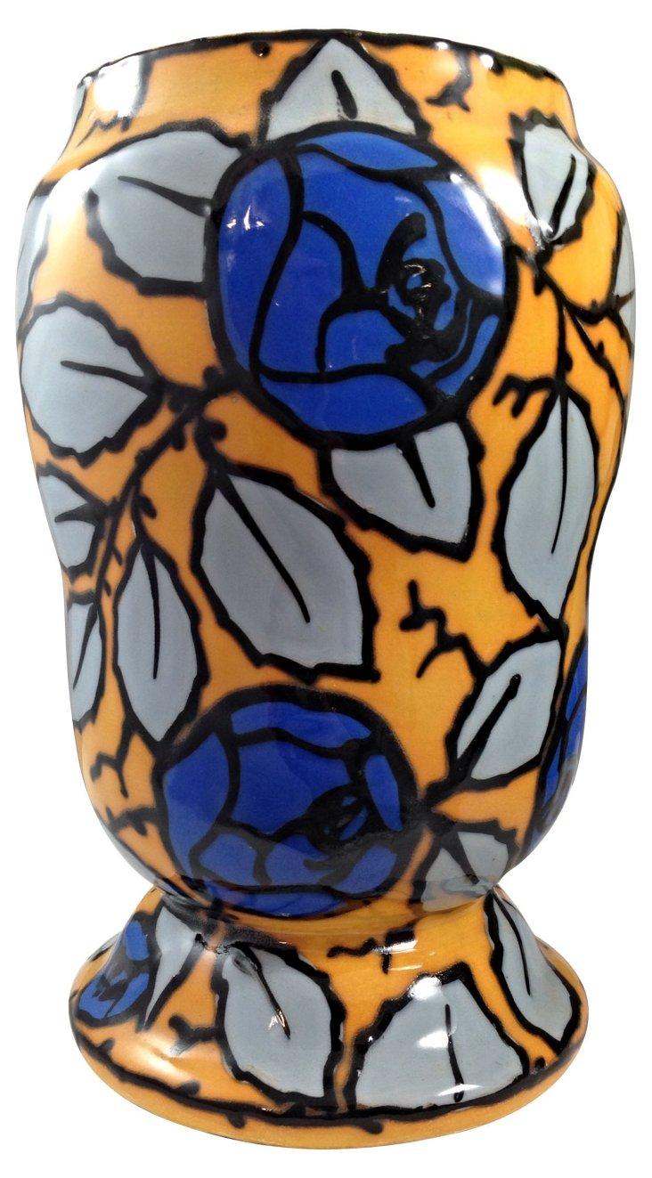 Hand-Painted Czechoslovakian Vase