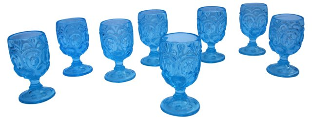 Colonial Blue Goblets, S/8