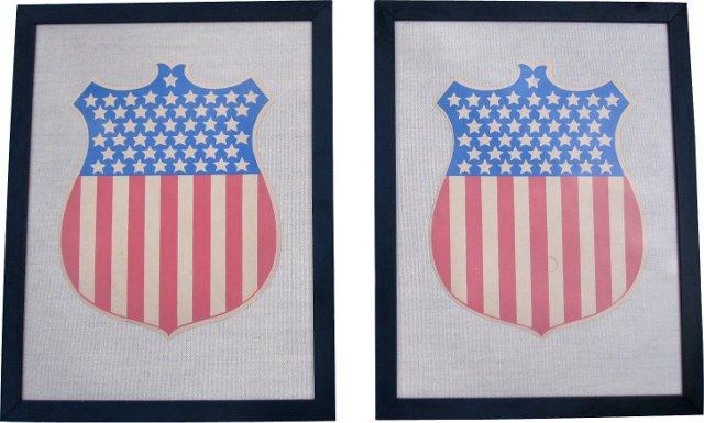 48-Star Patriotic Shields, Pair