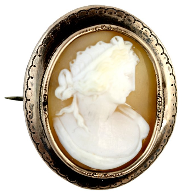Antique Sterling Silver Cameo Brooch