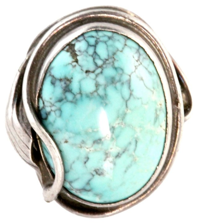 Art Nouveau Silver Turquoise Ring