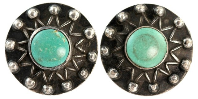 Navajo Medallion Turquoise Earrings