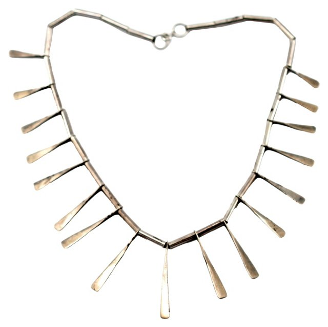 Hammered Silver Stick Necklace